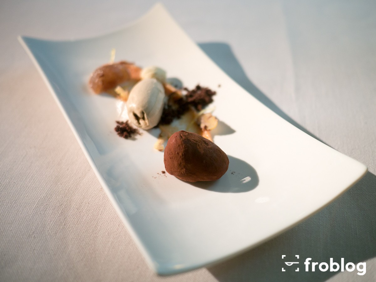 Roca Moo: Quince cream and lime, chestnut mousse and vanilla ice-cream
