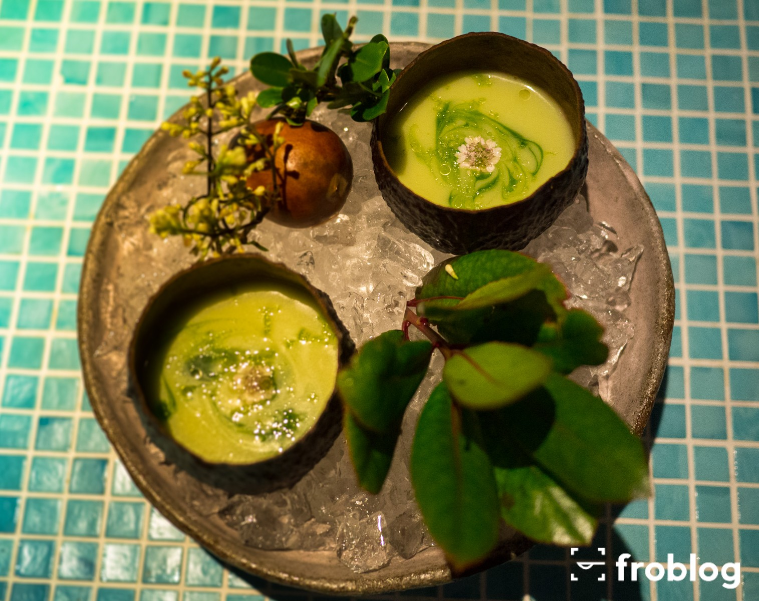 Gdzie jeść w Barcelonie kolację: Gaspacho z avocado i kwiatem kolendry
